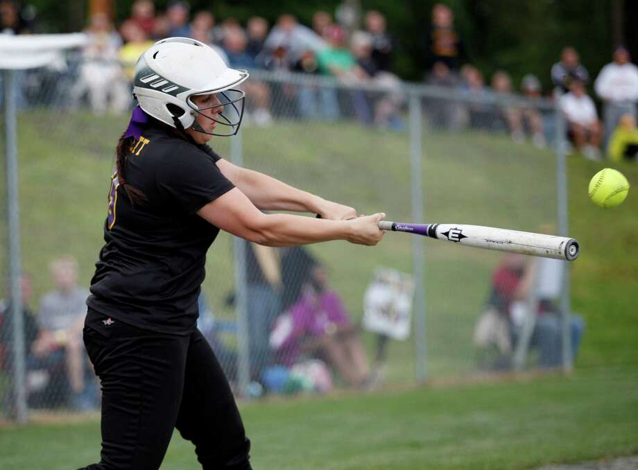 Troy High Sophmore catcher Victoria Hallett, 3, gets a hit during the Class A state semifinal game against Sayville, Saturday, June 8, 2013 at the Adirondack Sport Complex in Queensbury, N.Y. (Dan Little/Special to the Times Union) Photo: Dan Little / Dan Little