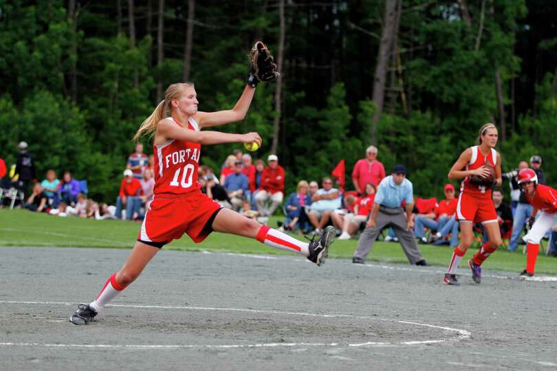 Fort Ann Sophomore pitcher Molly Bailey, 10, throws a pitch home during the Class D state championsh