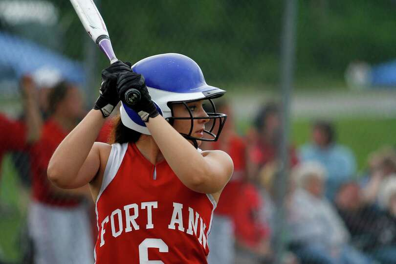 Fort Ann Freshman Bri Amodio, 6, looks for a pitch during the Class D state championship game agains