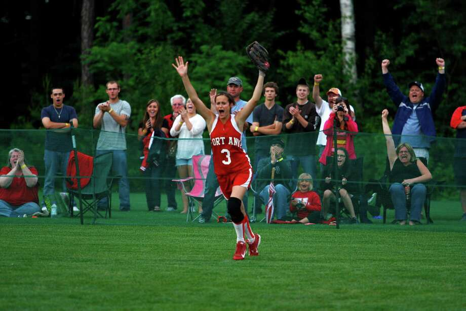 Fort Ann right fielder Casey Batchelder, 3, celebrates after making the game ending catch  to win the Class D state championship game against Afton, Saturday, June 8, 2013 at the Adirondack Sport Complex in Queensbury, N.Y. (Dan Little/Special to the Times Union) Photo: Dan Little / Dan Little