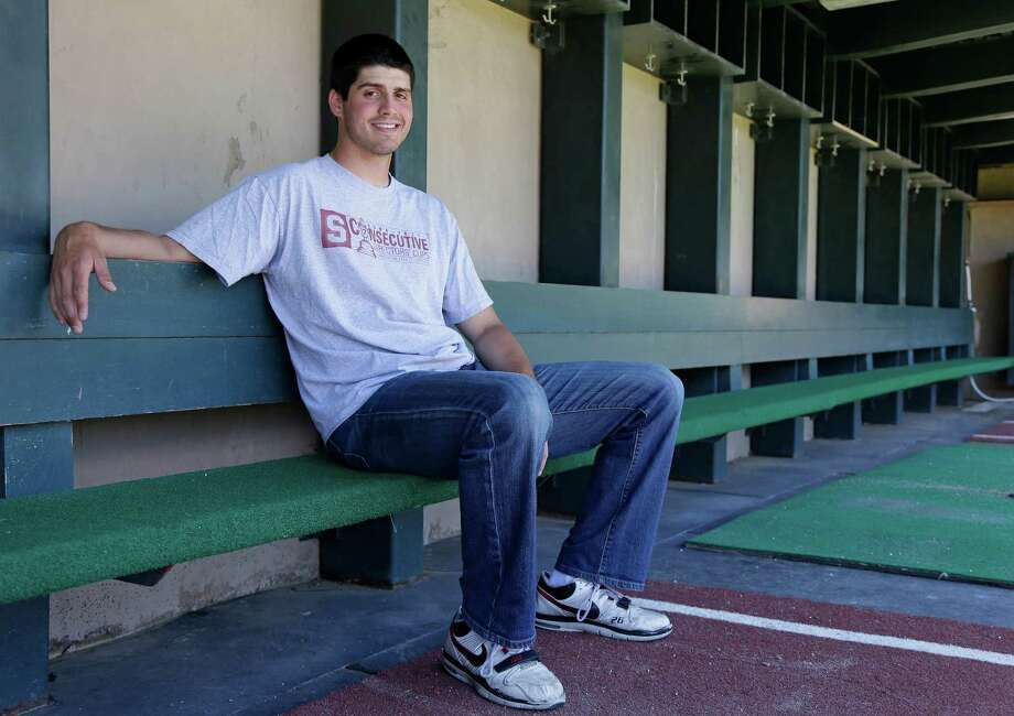 FILE - In this May 20, 2013 photo, Stanford pitcher Mark Appel poses in the dugout of the Sunken Diamond in Stanford, Calif. The Houston Astros have the top pick in the Major League Baseball draft for the second straight year, with the team considering several players to take No. 1 including a pair of pitchers in Stanford's Appel and Oklahoma's Jonathan Gray and a pair of third basemen in North Carolina's Colin Moran and San Diego's Kris Bryant. (AP Photo/Eric Risberg) Photo: Eric Risberg, STF / AP