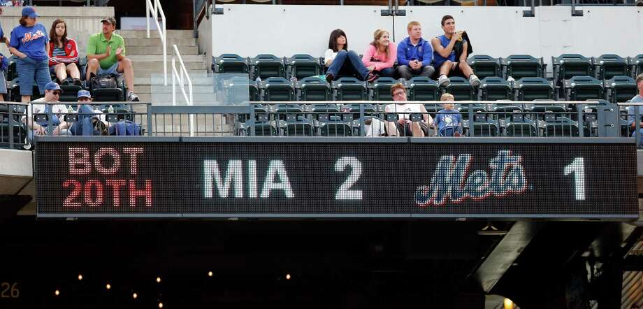 A crowd of 20,338 at Citi Field got its money's worth on Saturday - 20 innings of baseball - even if Mets fans had to endure a 2-1 loss to Miami in the process. Photo: Paul Bereswill, FRE / FR168017 AP