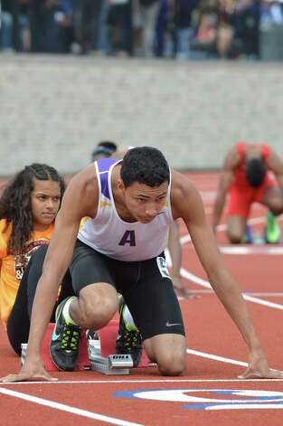 Amsterdam?s Izaiah Brown was first in the state and Federation 400-meter race. (Mark Ventra/Special to the Times Union)