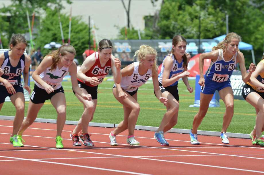 Saratoga Springs senior Keelin Hollowood (5) had a time of 6 minutes, 49.51 seconds in the Federation 2,000-meter steeplechase at the New York State Track & Field Championships. (Mark Ventra/Special to the Times Union)