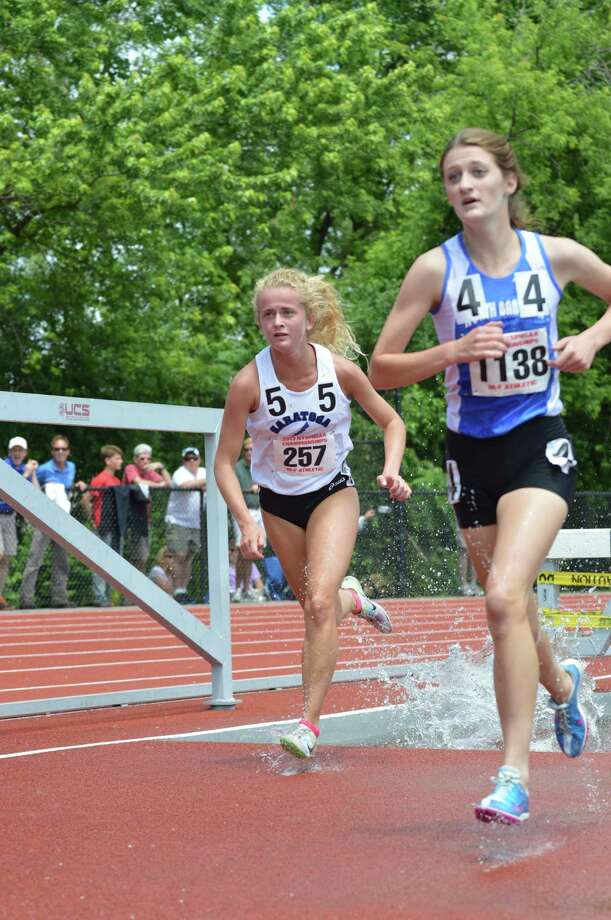Saratoga Springs senior Keelin Hollowood (5) had a time of 6 minutes, 49.51 seconds in the Federation 2,000-meter steeplechase at the New York State Track & Field Championships.