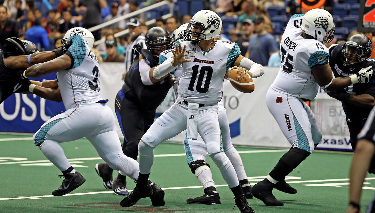 Rattler quarterback Nick Davila gets protection in the pocket as the Talons host the Arizona Rattlers in the Alamodome on June 8, 2013.