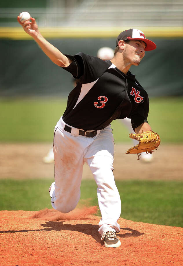 New Canaan's Andrew Casali delivers to the plate throwing a one hit 3-0 shutout over Waterford in the Class L baseball championship game at Palmer Field in Middletown, Conn. on Sunday, June 9, 2013. Photo: Brian A. Pounds / Connecticut Post