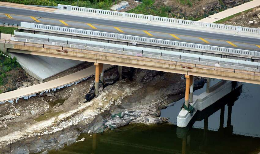 Damage from the May 25, 2013 flooding along the Mission Reach section of the San Antonio River under Mission Road can be seen in this June 5, 2013 aerial picture.