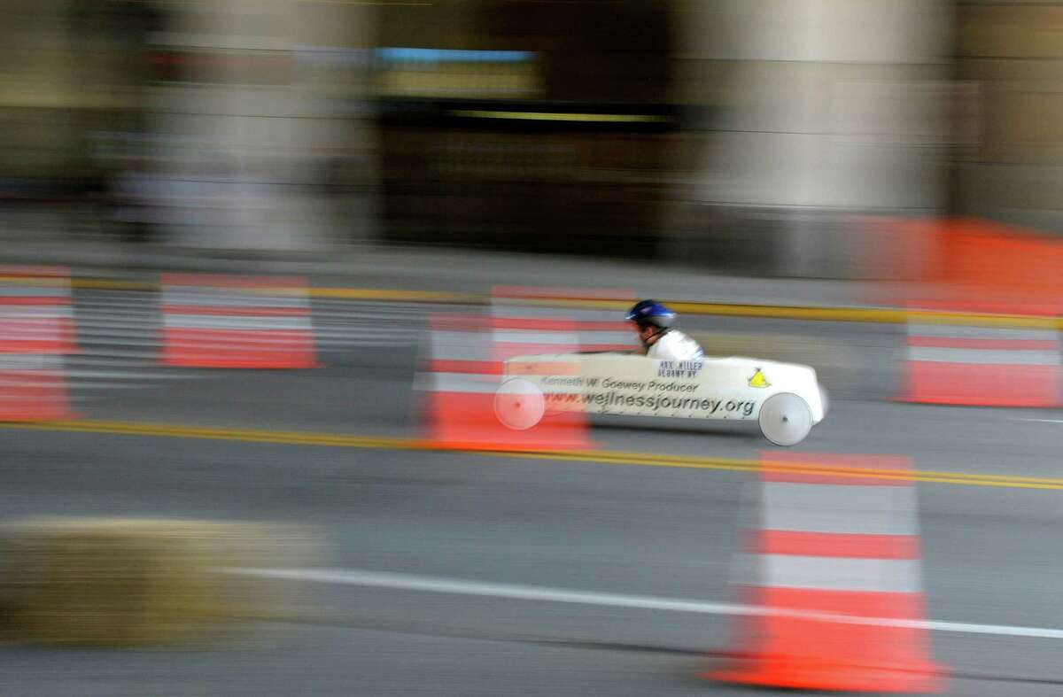 A racer heads for the finish line for a win during the Capital District Soap Box Derby on Sunday, June 9, 2013 in Albany, NY. The races were held on Saturday and Sunday. (Paul Buckowski / Times Union)