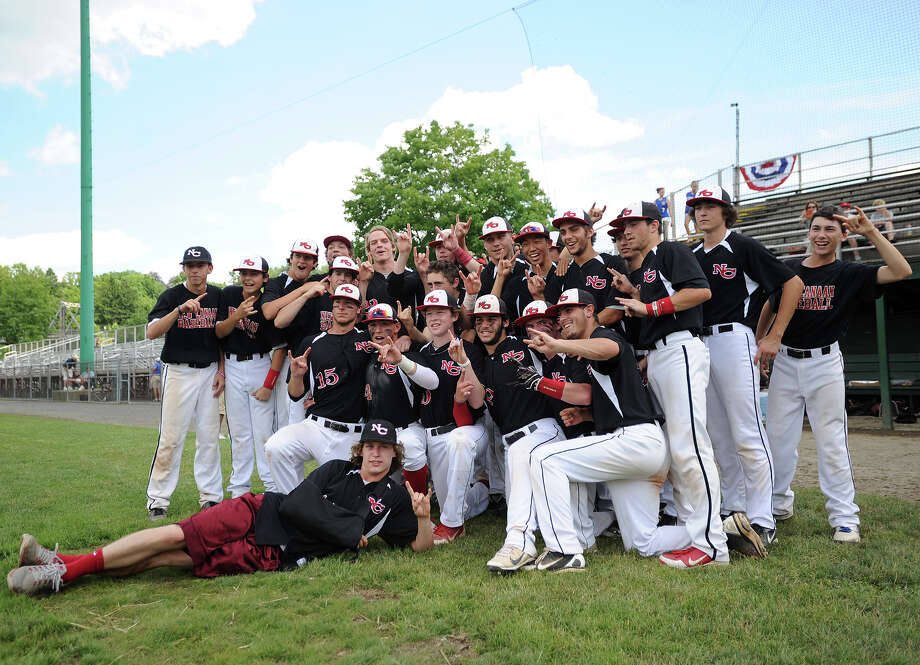 New Canaan players pose for a group photo following their3-0 victory over Waterford in the Class L baseball championship game at Palmer Field in Middletown, Conn. on Sunday, June 9, 2013. Photo: Brian A. Pounds / Connecticut Post
