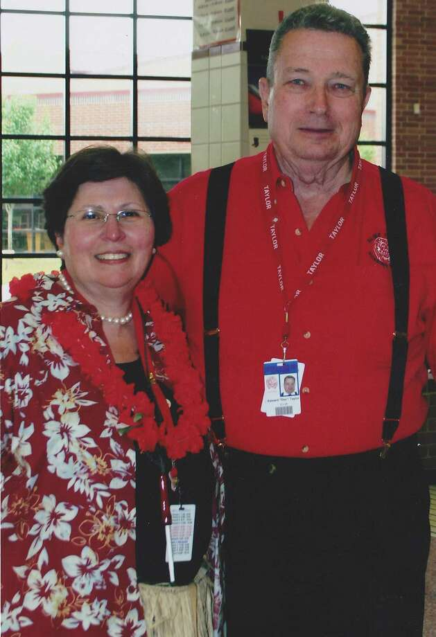 """Obit-File photo of Edward """"Doc"""" Taylor, 82, former teacher whom Alief Taylor High School is named after, with former Alief Taylor Principal Manette Schaller.  (photos from Manette Schaller)"""