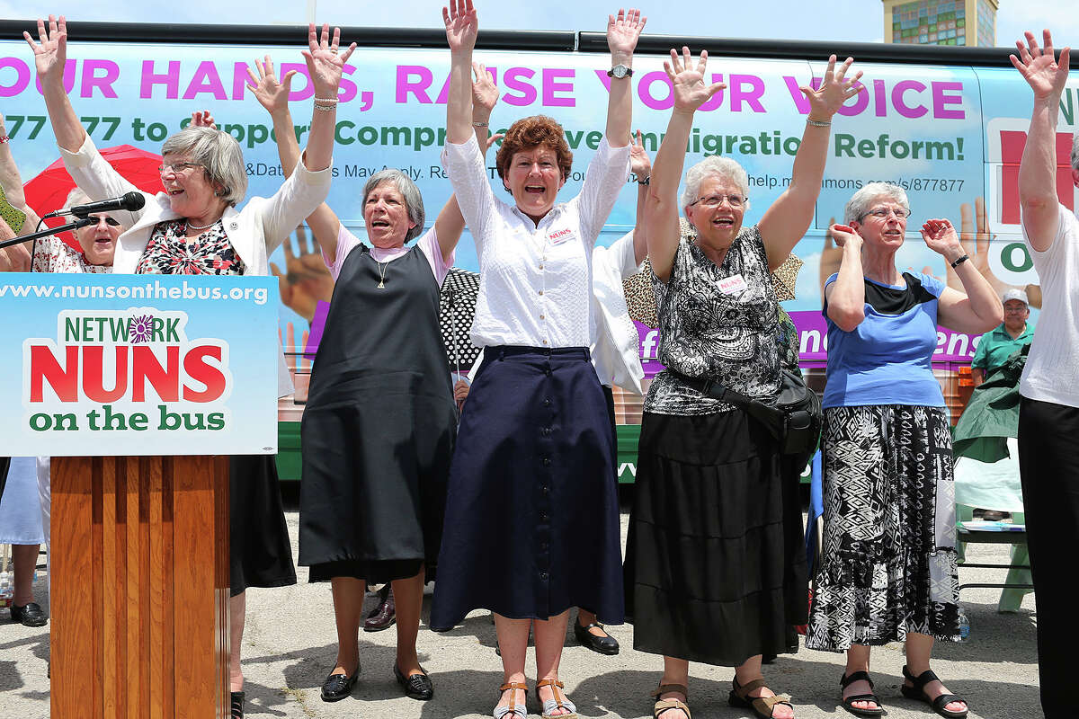 A group of nuns affiliated with National Catholic Social Justice perform a chant during a rally for immigration reform at St. Leonard Parish, Sunday, June 9, 2013. The group is with the NETWORK Nuns on the Bus campaign touring the country pushing for comprehensive immigration reforms.