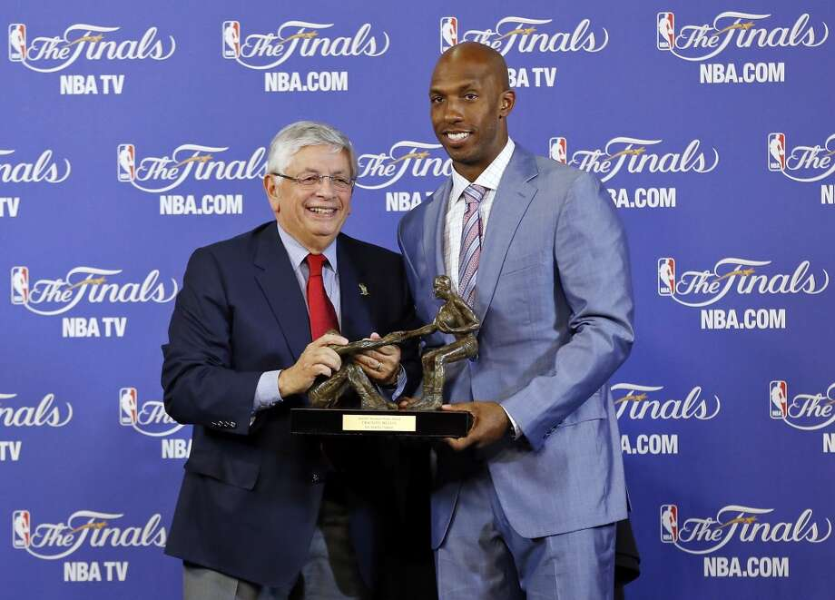 NBA Commissioner David Stern (left) presents the Twyman-Stokes Teammate of the Year Award to Los Angeles Clippers' Chauncy Billups before Game 2 of the 2013 NBA Finals between the San Antonino Spurs and Miami Heat Sunday June 9, 2013 at American Airlines Arena in Miami, Fla.