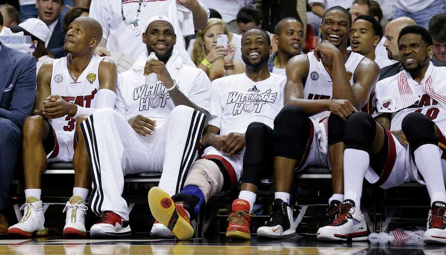 Game 2 turned into a laugher for the Heat's stars. Photo: Lynne Sladky, STF / AP