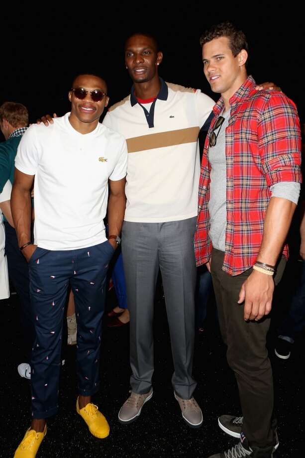NBA player Russell Westbrook (L-R), NBA player Chris Bosh and NBA player Kris Humphries pose backstage at the Lacoste Spring 2013 fashion show during Mercedes-Benz Fashion Week at The Theatre, Lincoln Center on September 8, 2012 in New York City.  (Photo by Chelsea Lauren/Getty Images for Mercedes-Benz Fashion Week)