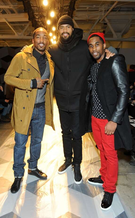 Basketball players J.R. Smith (L-R) , Tyson Chandler and Chris Smith attend the Robert Geller Runway Show during Fall 2013 Mercedes-Benz Fashion Week at Pier 59 Studios on February 9, 2013 in New York City.  (Photo by Simon Russell/WireImage)