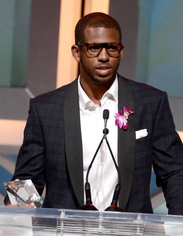 Pro basketball player Chris Paul speaks at the podium at the 28th Anniversary Sports Spectacular Gala at the Hyatt Regency Century Plaza on May 19, 2013 in Century City, California..  (Photo by Kevin Winter/Getty Images for Sports Spectacular)