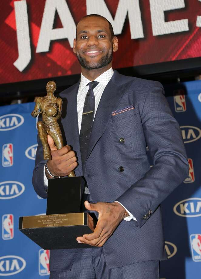 LeBron James attends the LeBron James press confernece to announce his 4th NBA MVP Award at American Airlines Arena on May 5, 2013 in Miami, Florida. (Photo by Alexander Tamargo/WireImage)