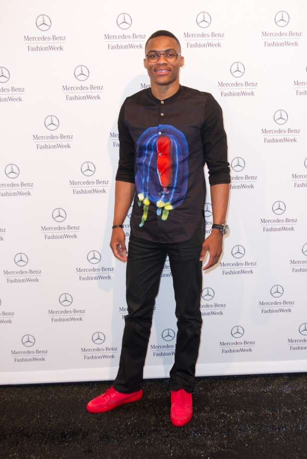 Russell Westbrook is seen during Spring 2013 Mercedes-Benz Fashion Week at Lincoln Center for the Performing Arts on September 6, 2012 in New York City. (Photo by John Parra/WireImage)