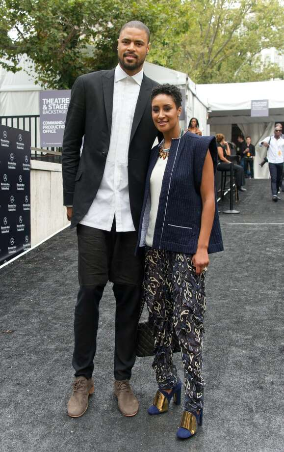 New York Knicks player Tyson Chandler and wife Kimberly Chandler are seen around Lincoln Center during Spring 2013 Mercedes-Benz Fashion Week on September 6, 2012 in New York City.  (Photo by Gilbert Carrasquillo/FilmMagic)