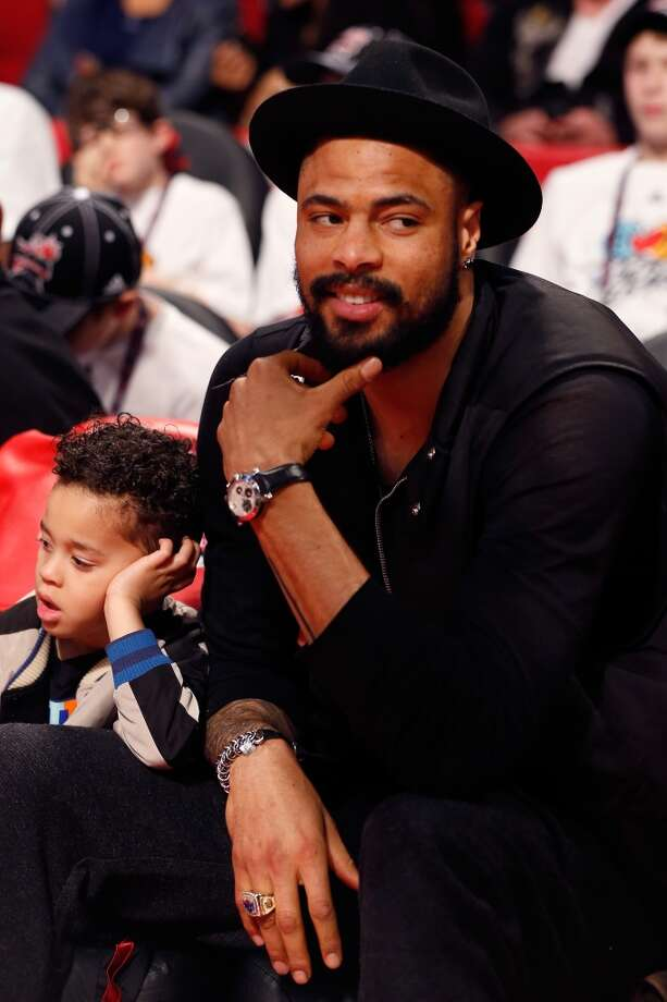 Tyson Chandler of the New York Knicks watches the Taco Bell Skills Challenge part of 2013 NBA All-Star Weekend at the Toyota Center on February 16, 2013 in Houston, Texas. NOTE TO USER: User expressly acknowledges and agrees that, by downloading and or using this photograph, User is consenting to the terms and conditions of the Getty Images License Agreement.  (Photo by Scott Halleran/Getty Images)