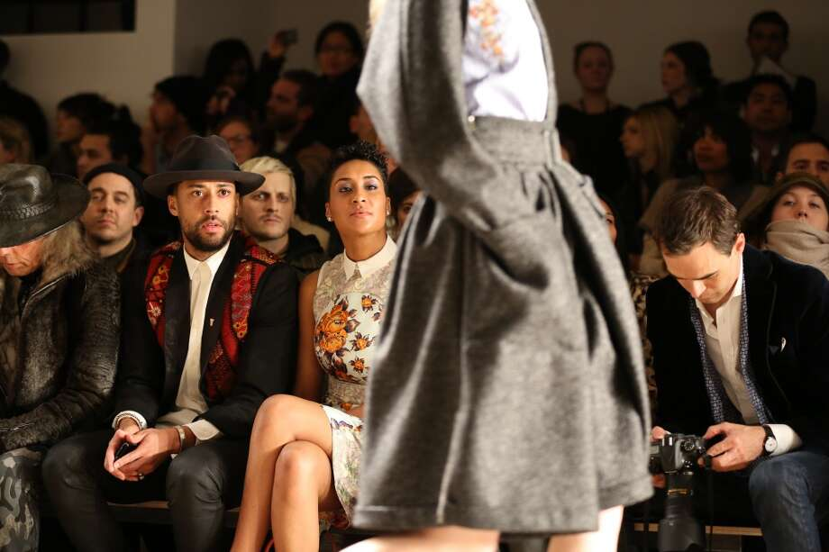 NBA player Tyson Chandler (L) and wife Kimberly Chandler attend the Suno fall 2013 fashion show during MADE Fashion Week at Milk Studios on February 8, 2013 in New York City.  (Photo by Chelsea Lauren/Getty Images)