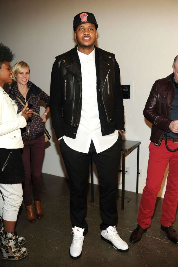 NBA player Carmelo Anthony attends the Carlos Campos fall 2013 presentation during MADE Fashion Week at Milk Studios on February 10, 2013 in New York City.  (Photo by Ben Gabbe/Getty Images)