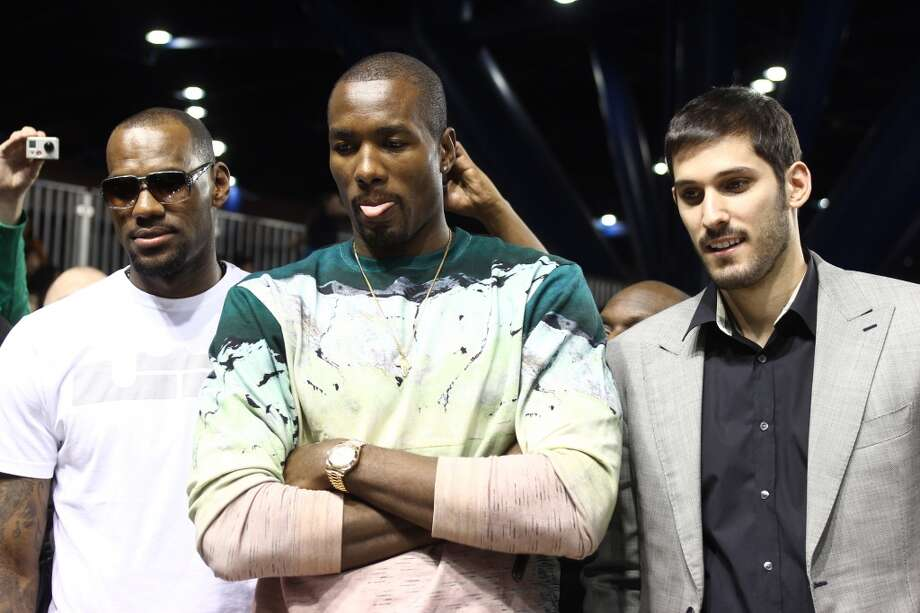 LeBron James, Serge Ibaka and Omri Casspi attend the 2013 NBA All-Star Celebrity Game at George R. Brown Convention Center on February 15, 2013 in Houston, Texas. (Photo by Louis Dollagaray/Getty Images)