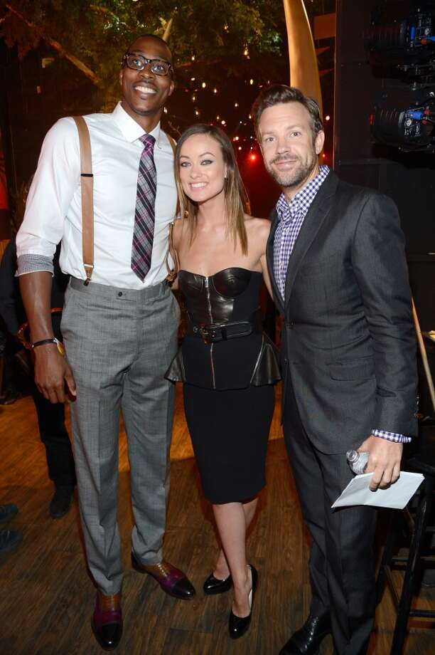 NBA player Dwight Howard (L-R), actors Olivia Wilde and Jason Sudeikis attend the 2013 Spike TV Guys Choice at Sony Pictures Studios on June 8, 2013 in Culver City, California.  (Photo by Kevin Mazur/WireImage)