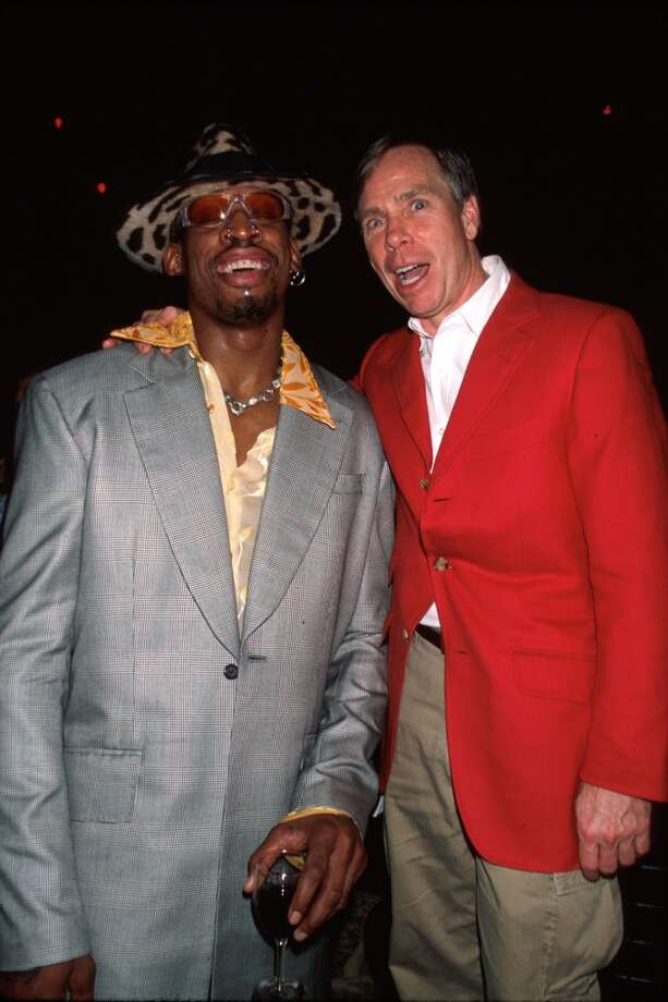 Professional basketball player Dennis Rodman (L-R) and fashion designer Tommy Hilfiger.  (Photo by Dave Allocca/DMI/Time Life Pictures/Getty Images)