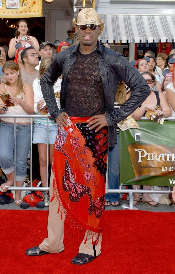 "Dennis Rodman during World Premiere of Walt Disney Pictures' ""Pirates of the Caribbean: Dead Man's Chest"" - Arrivals at Disneyland in Anaheim, California, United States. (Photo by Gregg DeGuire/WireImage)"