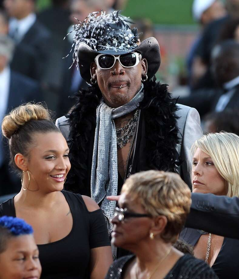 Inductee Dennis Rodman arrives to the Basketball Hall of Fame Enshrinement Ceremony on August 12, 2011 at Symphony Hall in Springfield, Massachusetts. (Photo by Jim Rogash/Getty Images)