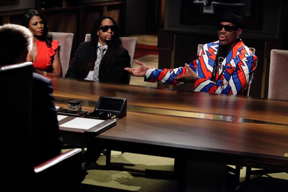 Omarosa (l-r), Lil Jon, Dennis Rodman appear on All-Star Celebrity Apprentice. (Photo by: Douglas Gorenstein/NBC/NBCU Photo Bank via Getty Images)