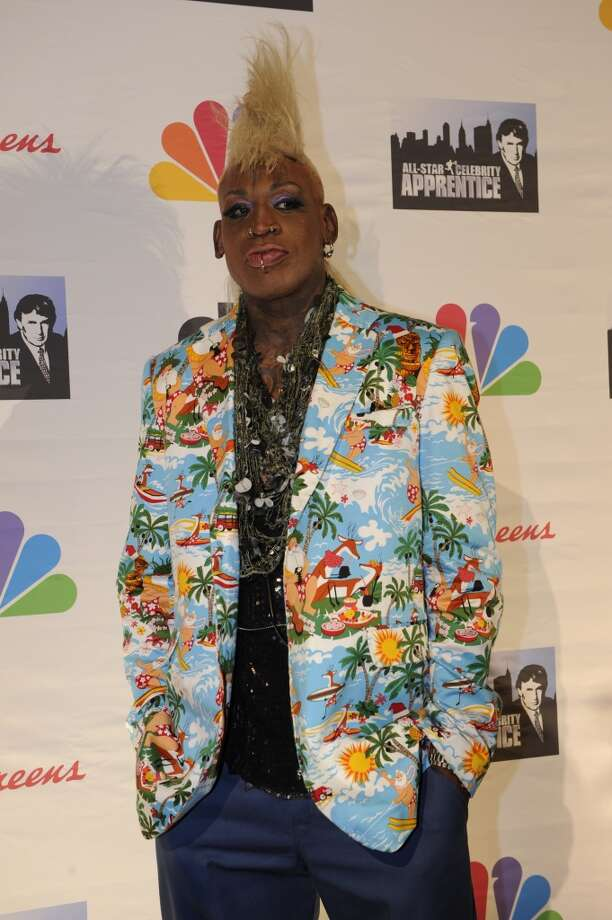 Dennis Rodman arrives for the live finale of All-Star Celebrity Apprentice. (Photo by: Virginia Sherwood/NBC/NBCU Photo Bank via Getty Images)