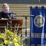 Apple co-founder Steve Wozniak, Cal. 'The Woz' is seen delivering a commencement speech in Berkeley in 2013.