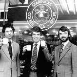 Starbucks Coffee founders Zev Siegl, Jerry Baldwin and Gordon Bowker, USF. The trio bought their first beans from Berkeley-based Alfred Peet.