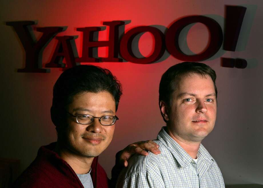 Yang, 44, left, is worth an estimated $1.7 billion. Yang made his money by founding Yahoo. He left the company in January 2012. Source: Forbes Photo: Marcio Jose Sanchez, AP