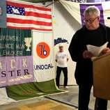 Gay rights activist Cleve Jones, SF State. Jones is seen with the AIDS Memorial Quilt that he started.