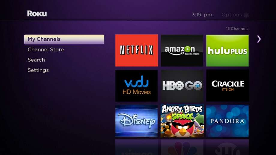 Roku's interface is a simple tiles-on-grid design, with more than 750 channels. Photo: Roku