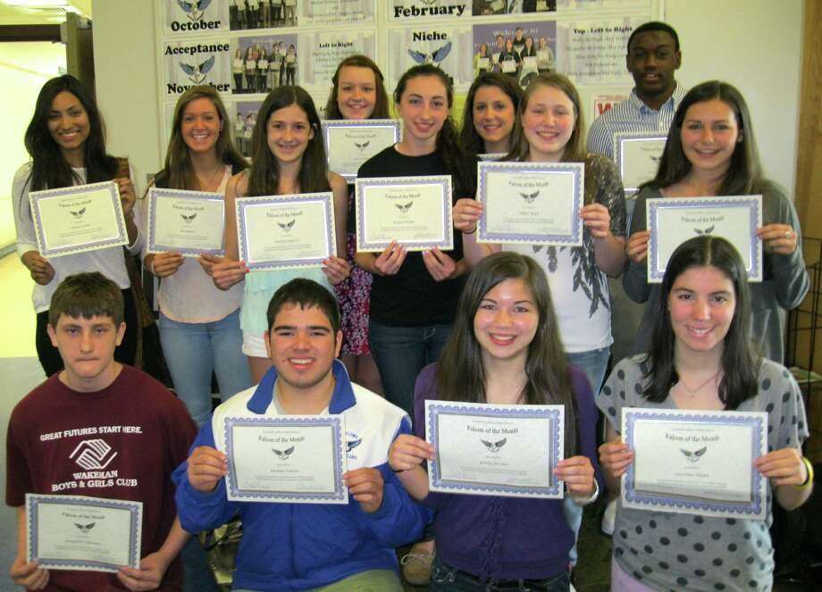 HIGH-FLYING FALCONS Fairfield Ludlowe High School cited its Falcons of the Month for April for attaoining personal goals. The honorees are, front row, from left: Peter Stefanatos, Nathan Nelson, Emily Devine and Caroline Naspo. Back row: Cintya Castillo, Zoe Audino, Kaitlyn Fogarty, Annie Huber, Reagan Walker, Brianna Amicone, Lillian Boyd, Leroy Nichols, Kayla Mackay. Photo: Contributed Photo / Fairfield Citizen contributed