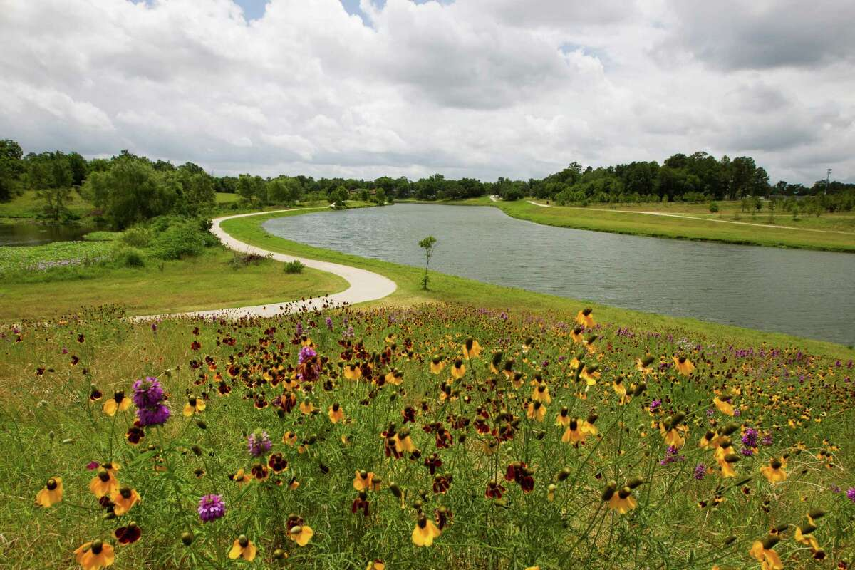 Flowers bloom at Mason Park. The park's bike trail is a key link in Houston's trail system.