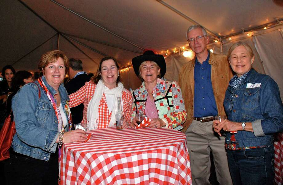 """Karen Stevenson, Anda Hutchins, Barbara and Alan Donaldson, and Pat Thatcher were on the scene at the New Canaan Library's """"Books, Blues & BBQ 2013"""" fundraiser on Friday, June 7, 2013. Photo: Jeanna Petersen Shepard / New Canaan News Freelance"""