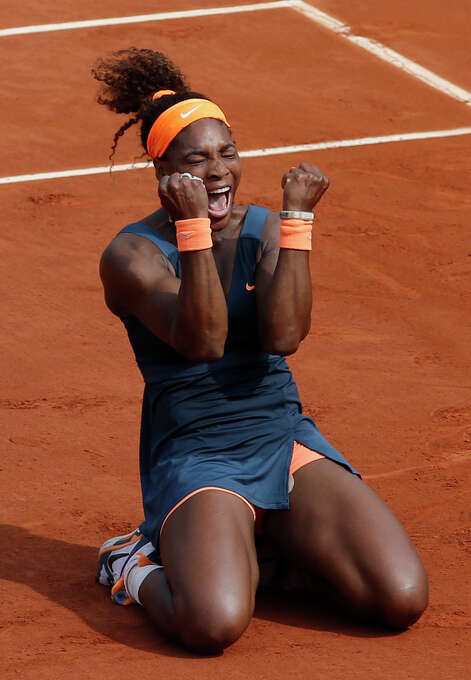 Serena Williams, of the U.S, reacts as she defeats Russia's Maria Sharapova during the Women's final match of the French Open tennis tournament at the Roland Garros stadium Saturday, June 8, 2013 in Paris. Williams won 6-4, 6-4. Photo: Christophe Ena, AP / AP