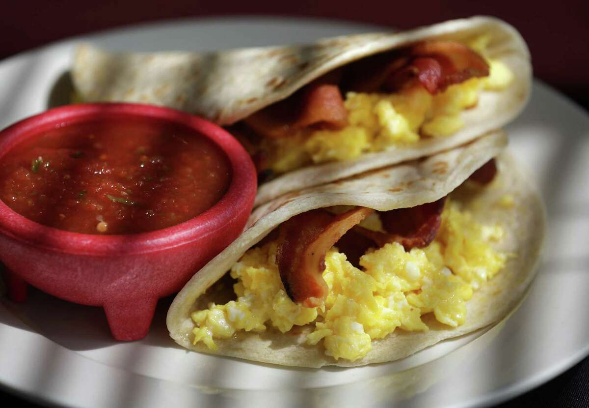 Two Bacon and Egg Tacos, a favorite at Cafe Salsita.