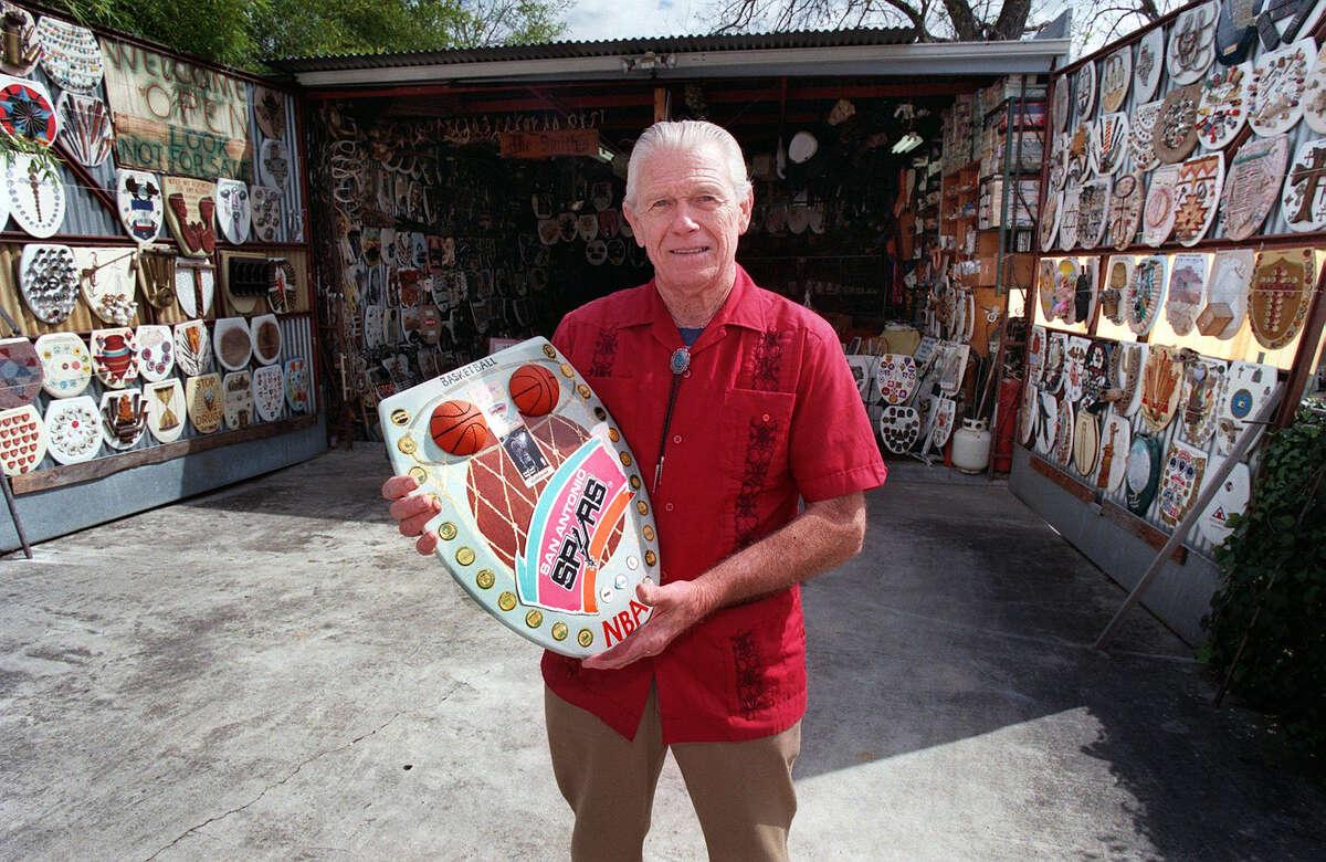 ADVANCE FOR SA LIFE--Barney Smith outside his museum of toilet seats. Rick Hunter/Staff