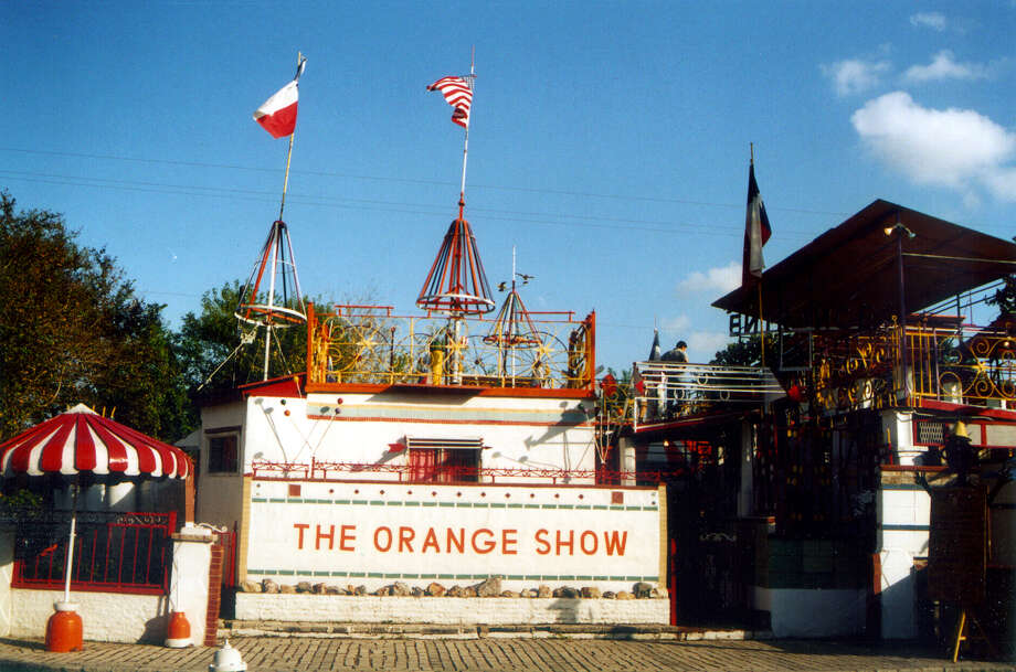 The Orange Show Monument in Houston is an outdoor 3,000 square foot creation made from different materials, such as gears and mannequins. Jeff McKissack, who built the monument single-handedly, completed the project to show what eating his favorite fruit, the orange, could allow you to do, according to the monument's website. The attraction features an oasis, a wishing well, a pond, a stage, a museum, a gift shop, and several upper decks. The Orange Show Center for Visionary Art was formed in 1980 to protect the deteriorating monument. The attraction is open Saturdays and Sundays from noon to 5 p.m. Admission is $1. Photo: TERRY BERTLING, SAN ANTONIO EXPRESS-NEWS / SAN ANTONIO EXPRESS-NEWS