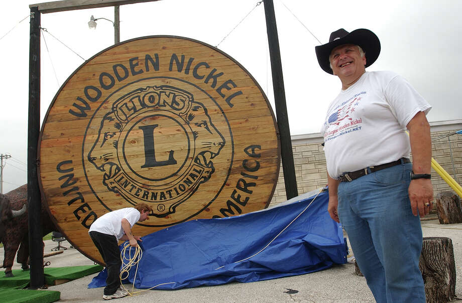 The Wooden Nickel Museum in San Antonio claims to own The World's Largest Nickel. The nickel was unveiled in 2002, and the decoration placed upon it is revised every year during the Wooden Nickel Festival. The Wooden Nickel museum contains more than 1 million wooden nickels and is on the site of the Old Time Nickel Company, which still manufactures wooden nickels with custom designs and celebrated its 50th anniversary in 2002. Photo: Express-News File Photo / SAN ANTONIO EXPRESS-NEWS