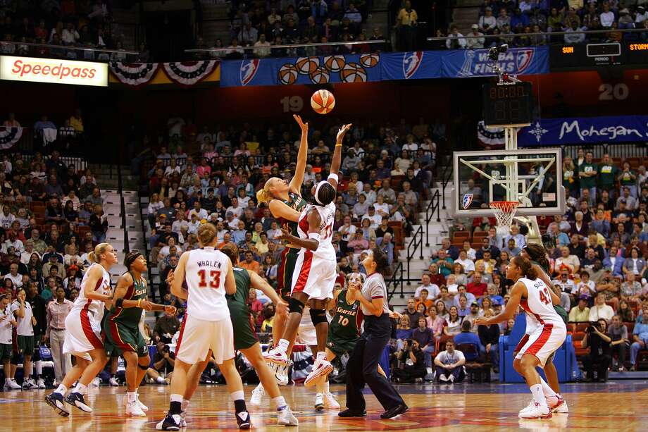 Mohegan Sun, the home to the WNBA's Connecticut Sun (shown here during the 2004 WNBA Finals), has been named as the host of The American Athletic Conference's women's basketball tournament beginning in 2014.