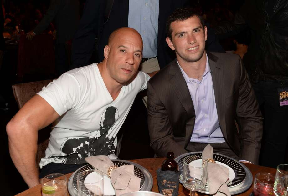 CULVER CITY, CA - JUNE 08: (L-R) Actor Vin Diesel and NFL player Andrew Luck attend Spike TV's Guys Choice 2013 at Sony Pictures Studios on June 8, 2013 in Culver City, California.  (Photo by Jason Kempin/Getty Images for Spike TV)