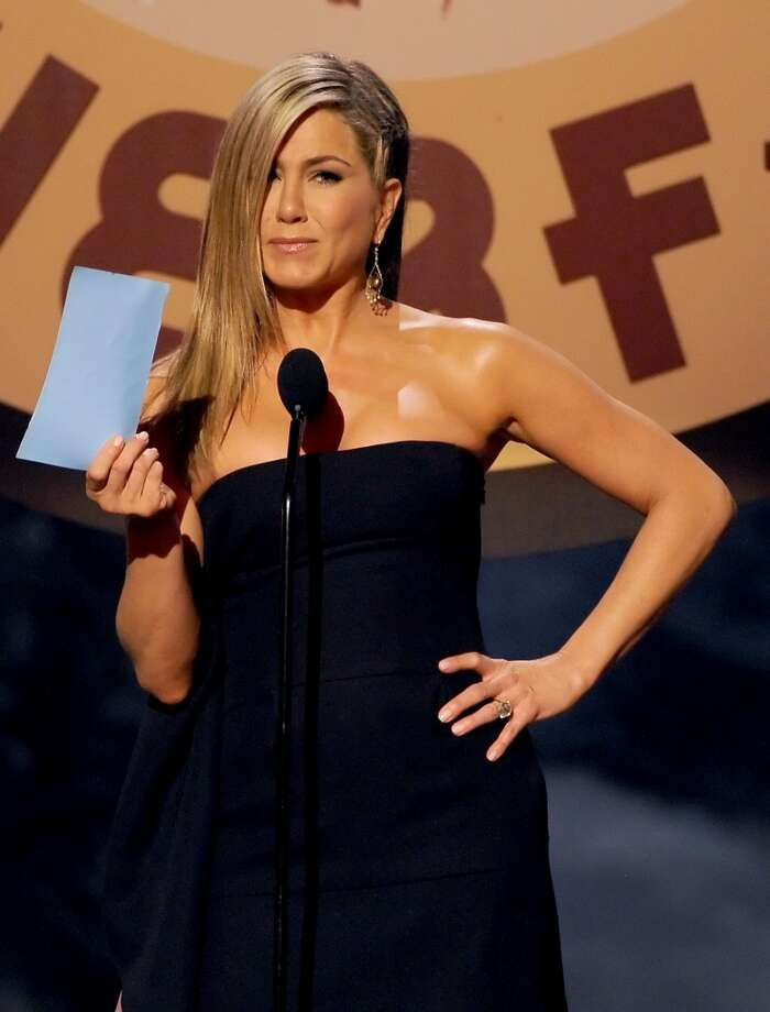CULVER CITY, CA - JUNE 08:  Actress Jennifer Aniston speaks onstage during Spike TV's Guys Choice 2013 at Sony Pictures Studios on June 8, 2013 in Culver City, California.  (Photo by Kevin Winter/Getty Images for Spike TV)